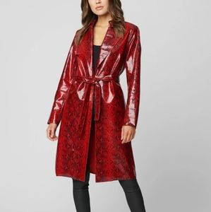[BlankNYC] Red Python Vegan Leather Trench Coat